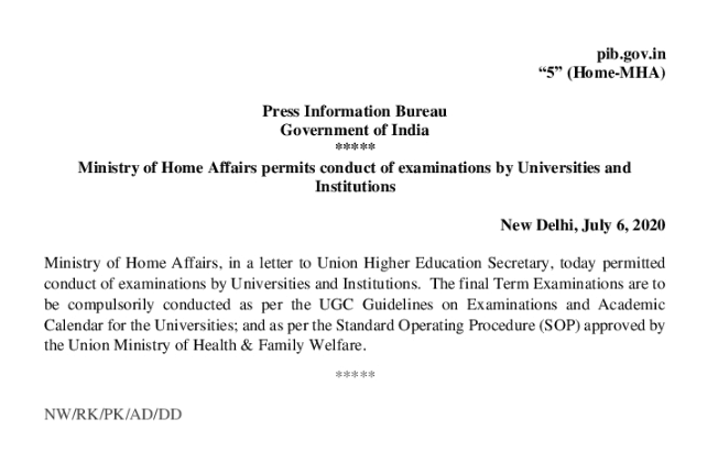 UGC Guidelines Final Year Exams